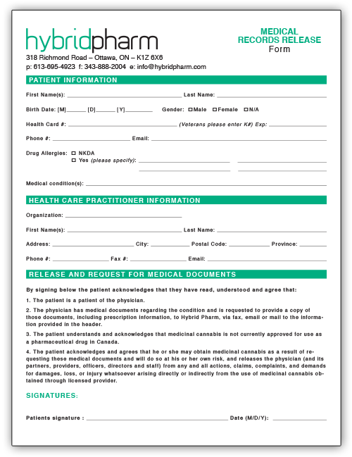 Hybrid Pharm Medical Records Release Form